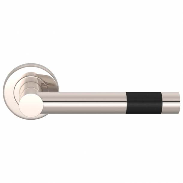 Turnstyle Design Door Handle - Black Leather / Polished nickel - Model R1020
