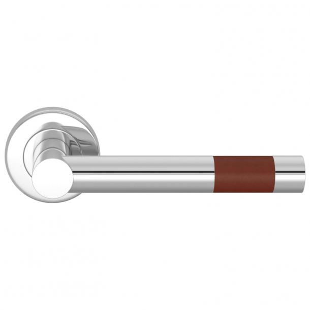Turnstyle Design Dørgreb - Kastanjefarvet læder / Blank krom - Model R1020