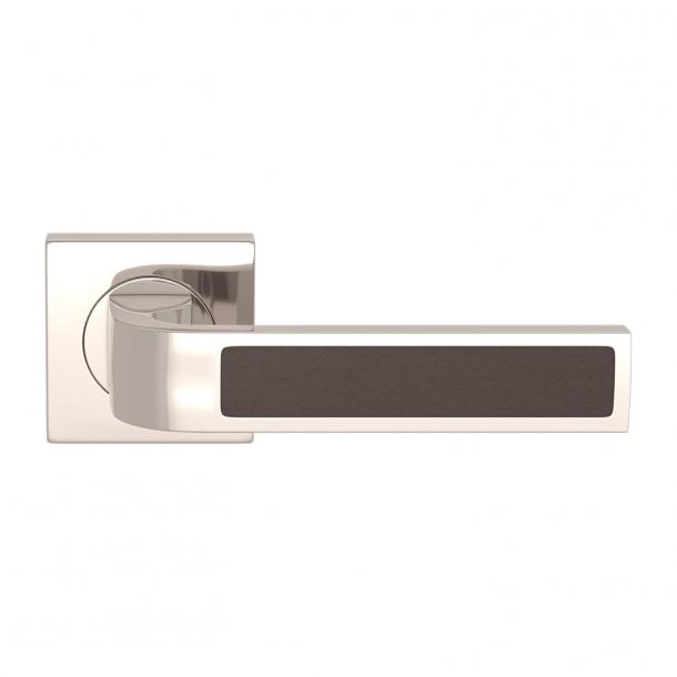 Turnstyle Design Door handle - Chocolate leather / Polished nickel - Model R1022