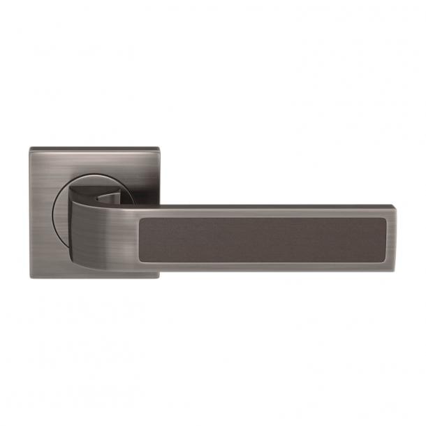 Turnstyle Design Door handle - Chocolate leather / Vintage nickel - Model R1022