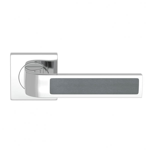 Turnstyle Design Door handle - Slate gray leather / Bright chrome - Model R1022