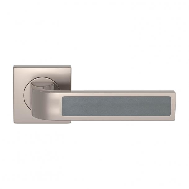 Turnstyle Design Door handle - Slate gray leather / Satin nickel - Model R1022
