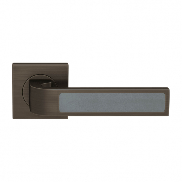 Turnstyle Design Door handle - Slate gray leather / Vintage patina - Model R1022