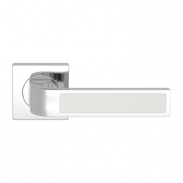 Turnstyle Design Door handle - White leather / Bright chrome - Model R1022