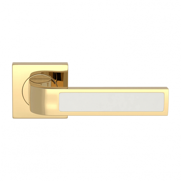 Turnstyle Design Door handle - White leather / Polished brass - Model R1022