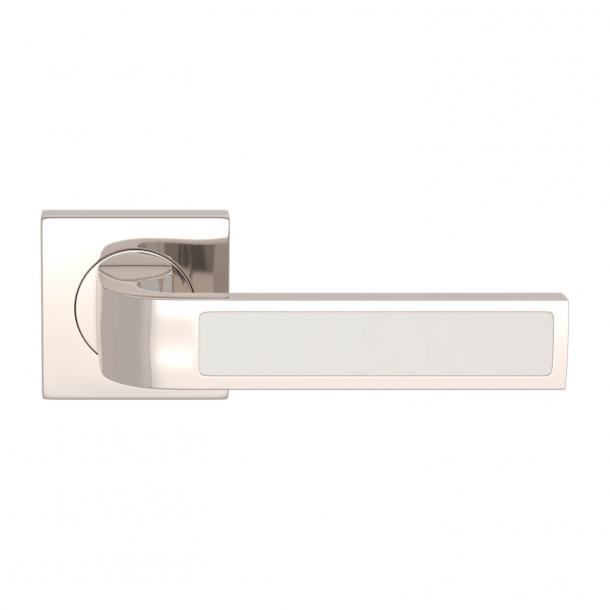 Turnstyle Design Door handle - White leather / Polished nickel - Model R1022