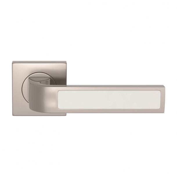 Turnstyle Design Door handle - White leather / Satin nickel - Model R1022