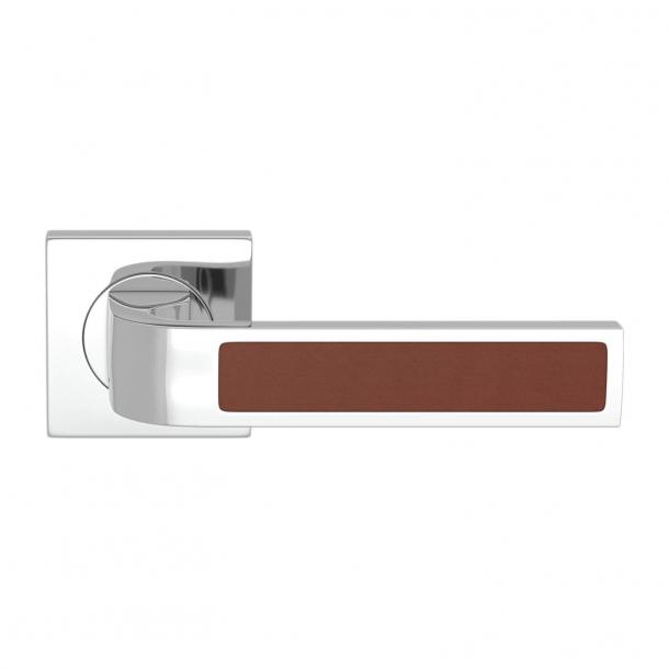 Turnstyle Design Door handle - Chestnut leather / Bright chrome - Model R1022