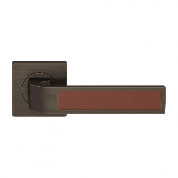 Turnstyle Design Klamka - Skóra w kolorze kasztanowym / Patyna w stylu vintage - Model R1022