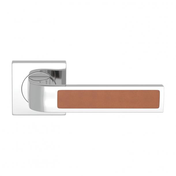 Turnstyle Design Door handle - Tan leather / Bright chrome - Model R1022