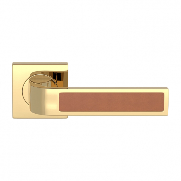 Turnstyle Design Door handle - Tan leather / Polished brass - Model R1022