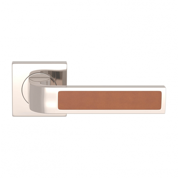 Turnstyle Design Door handle - Tan leather / Polished nickel - Model R1022