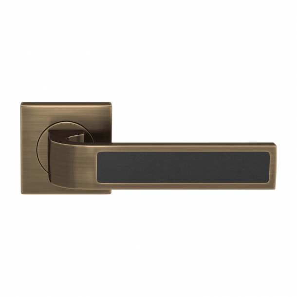 Turnstyle Design Door handle - Black  leather / Antique brass - Model R1022
