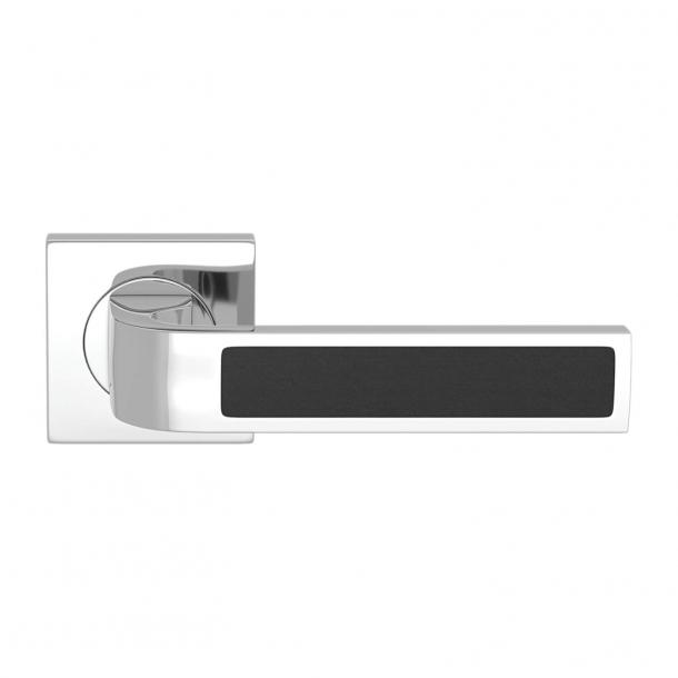 Turnstyle Design Door handle - Black leather / Bright chrome - Model R1022