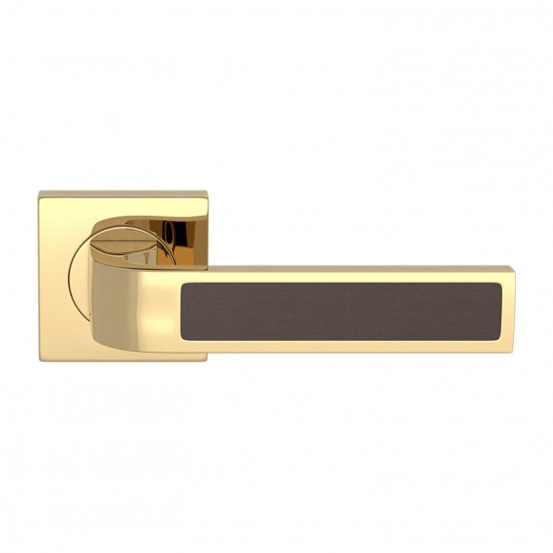 Turnstyle Design Door handle - Chocolate leather / Polished brass - Model R1022