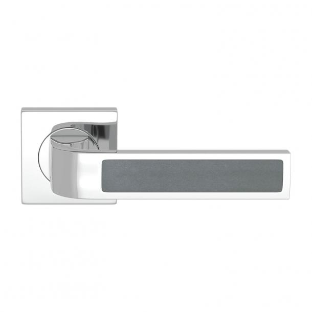 Turnstyle Design Door handle - Slate gray leather / Bright chrome - Model R1022
