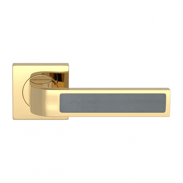 Turnstyle Design Door handle - Slate gray leather / Polished brass - Model R1022