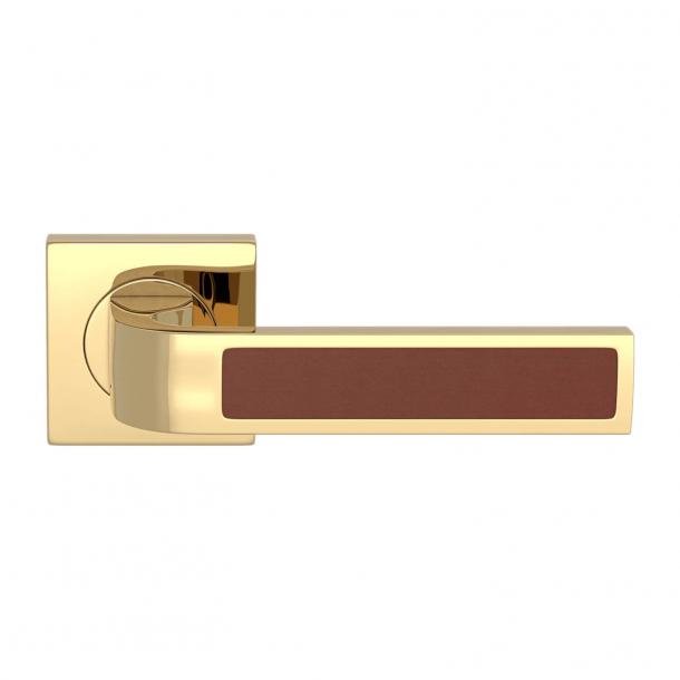 Turnstyle Design Door handle - Chestnut leather / Polished brass - Model R1022