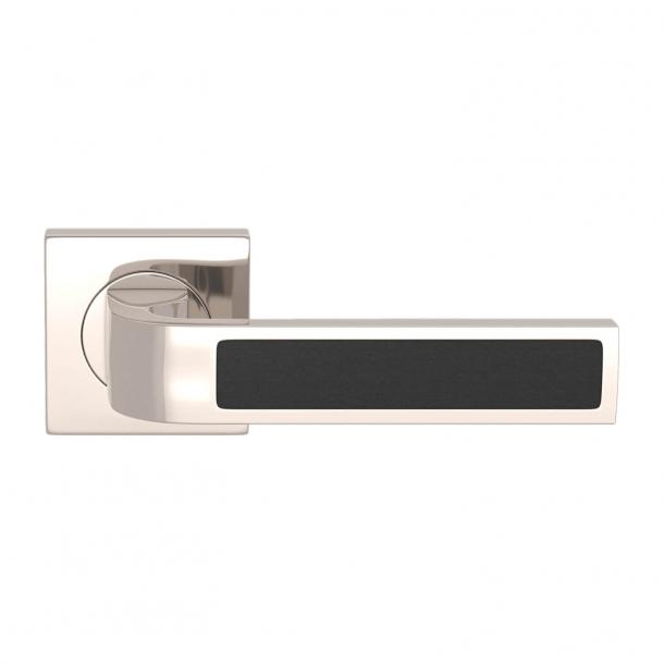 Turnstyle Design Door handle - Black leather / Polished nickel - Model R1022