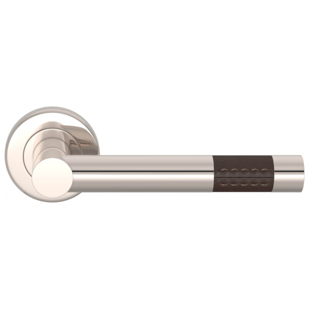 Turnstyle Design Door Handle - Chocolate leather / Polished nickel - Model R1023