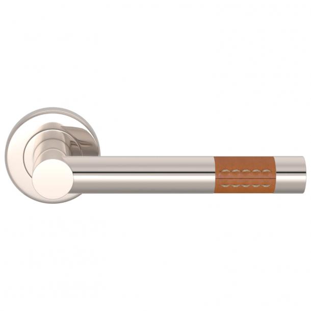 Turnstyle Design Dørgreb - Solbrunt læder / Poleret nikkel - Model R1023