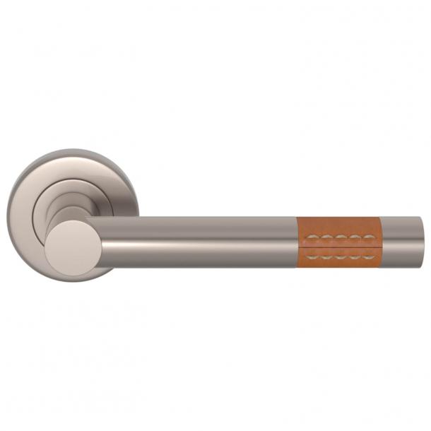Turnstyle Design Door Handle - Tan leather / Satin nickel - Model R1023