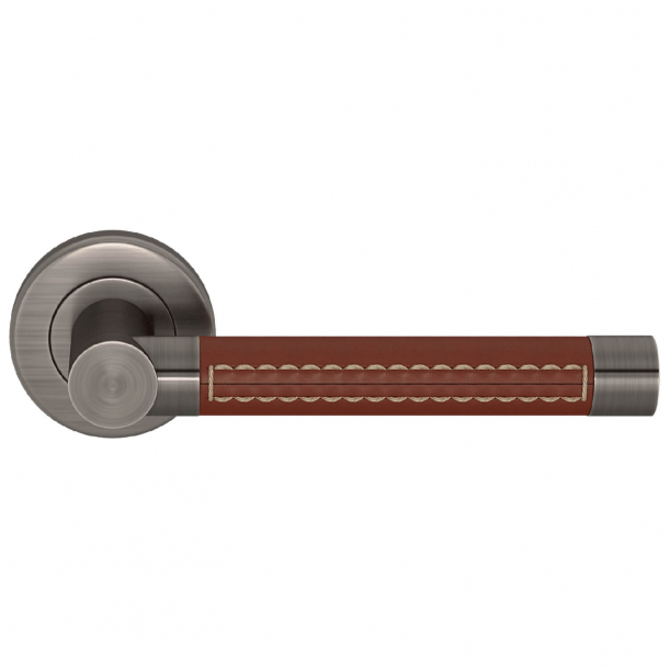 Turnstyle Design Door handle - Chestnut leather / Vintage nickel - Model R1024