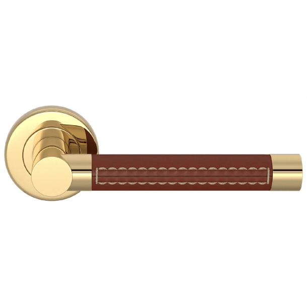 Klamka do drzwi - Turnstyle Design - Skóra kasztanowa / Polerowany mosiądz - Model R1024-CN-PU