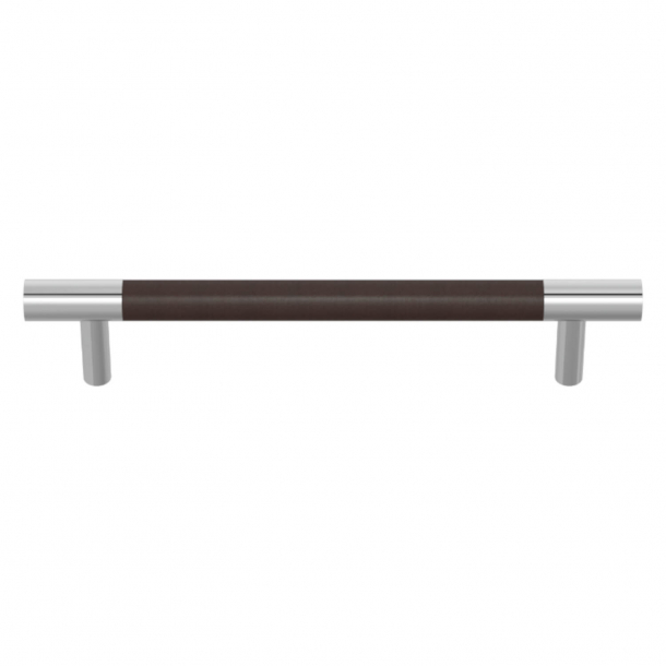 Turnstyle Designs Cabinet handles - Chocolate leather / Bright chrome - Model R1197