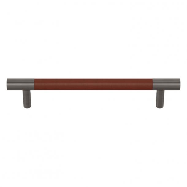 Uchwyt do mebli - Turnstyle Designs  - Skóra w kolorze kasztanowym / Nikiel postarzany- Model R1197