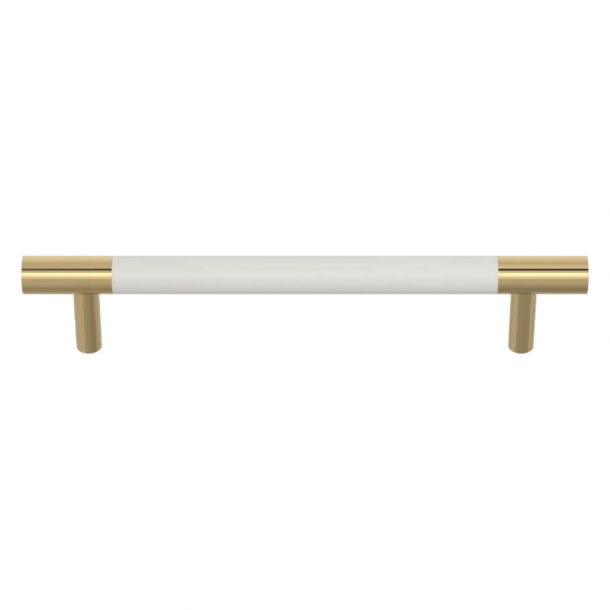 Turnstyle Designs Cabinet handles - White leather / Polished brass - Model R1197