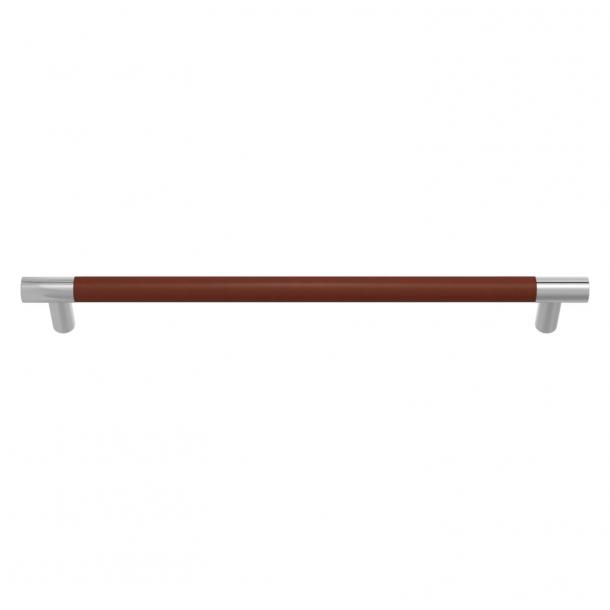 Turnstyle Designs Møbelgreb - Kastanjefarvet læder / Blank krom - Model R1300