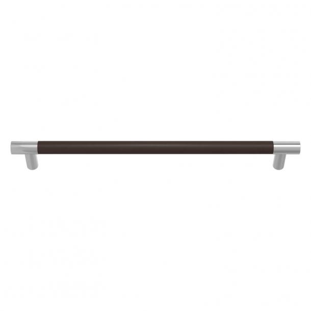 Uchwyty meblowy - Skóra w kolorze czekolady / Błyszczący chrom - Model R1300