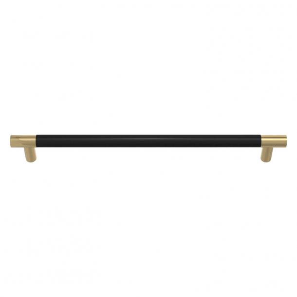 Uchwyt meblowy - Czarna skóra / Polerowany mosiądz - Model R1300