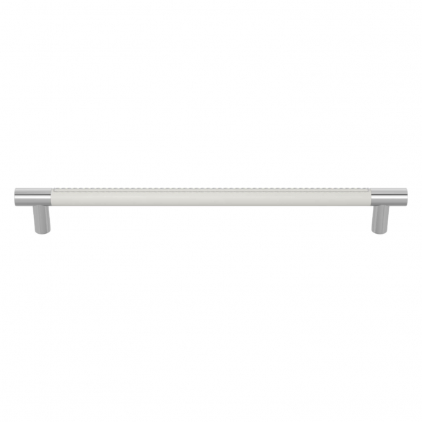 Turnstyle Designs Cabinet handles - White leather / Bright chrome - Model R1512