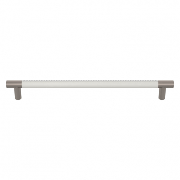 Turnstyle Designs Cabinet handles - White leather / Satin nickel - Model R1512