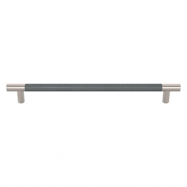 Turnstyle Designs Cabinet handles - Slate gray leather / polished nickel - Model R1512