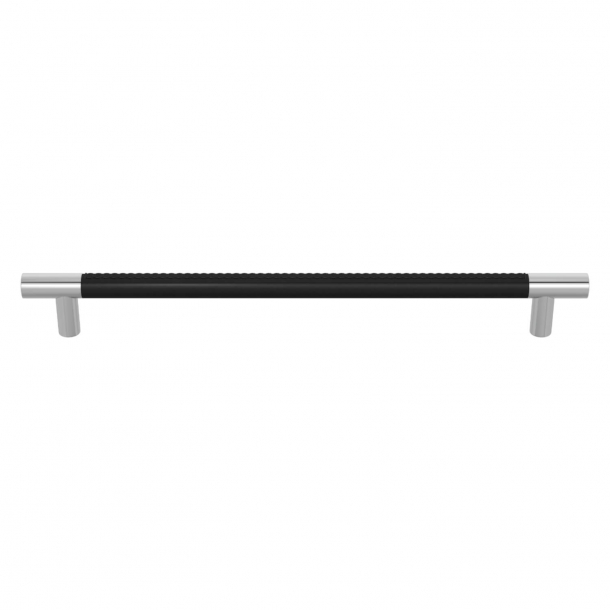 Turnstyle Designs Møbelgreb - Sort læder / Blank krom - Model R1512
