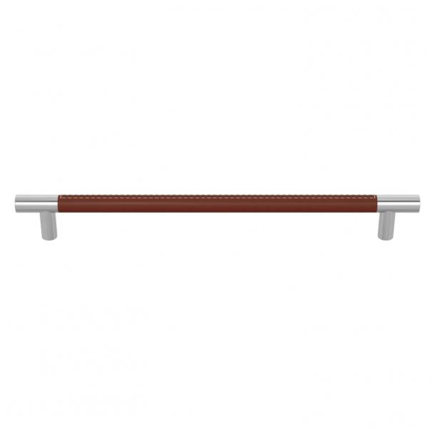 Turnstyle Designs Möbelhandtag - Kastanjfärgat läder / Blank krom - Modell R1512