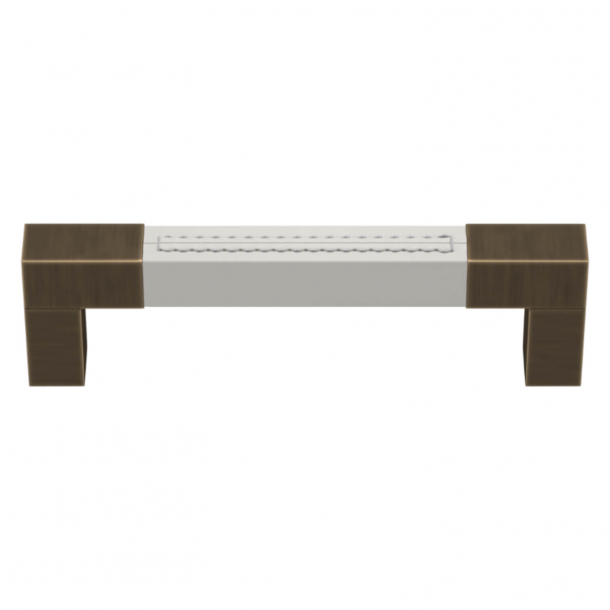 Turnstyle Designs Cabinet handle - White leather / Antique brass - Model R1755