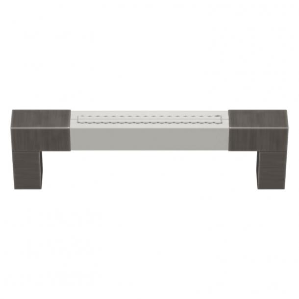 Turnstyle Designs Cabinet handle - White leather / Vintage nickel - Model R1755