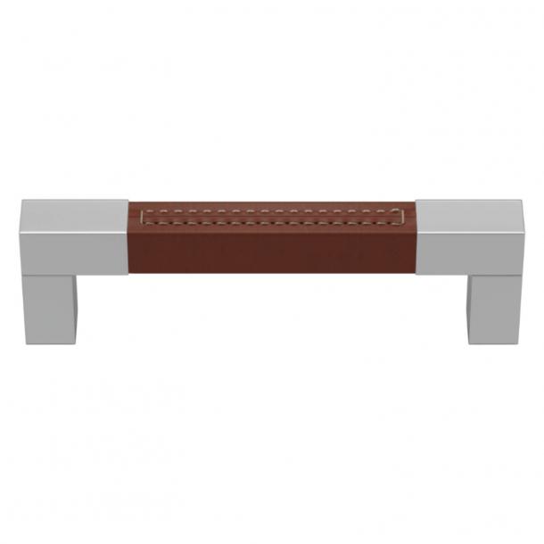Turnstyle Designs Møbelgreb - Kastanjefarvet læder / Blank krom - Model R1755