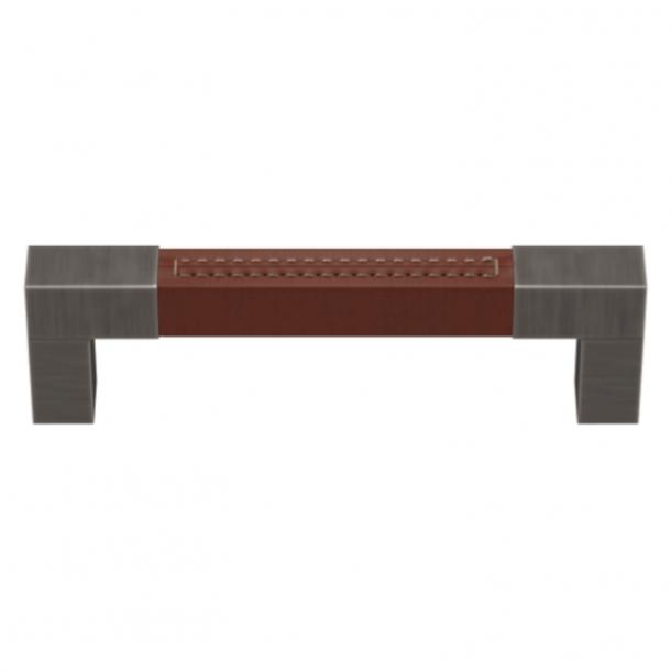 Turnstyle Designs Cabinet handle - Chestnut leather / Vintage nickel - Model R1755