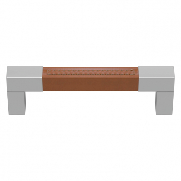 Turnstyle Designs Møbelgreb - Solbrunt læder / Blank krom - Model R1755