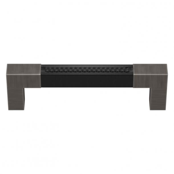 Turnstyle Designs Cabinet handle - Black leather / Vintage nickel - Model R1755