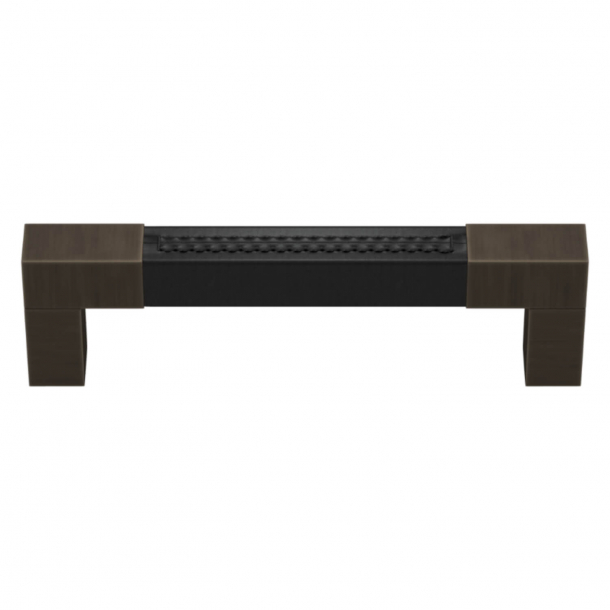Turnstyle Designs Cabinet handle - Black leather / Vintage patina - Model R1755