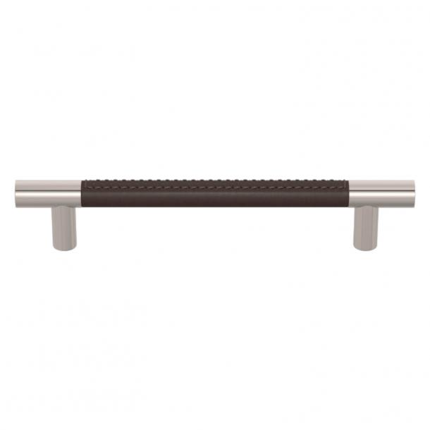 Turnstyle Designs Møbelgreb - Chokoladefarvet læder / Poleret nikkel - Model R1910