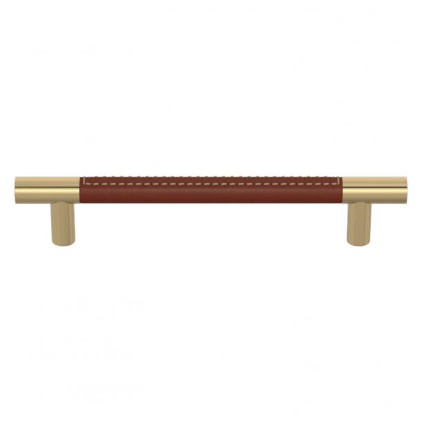 Turnstyle Designs Møbelgreb - Kastanjefarvet læder / Poleret messing - Model R1910
