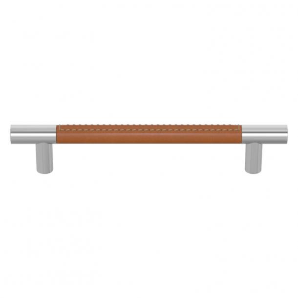 Uchwyt meblowy - Turnstyle Designs - Jasno brązowa skóra / Błyszczący chrom - Model R1910