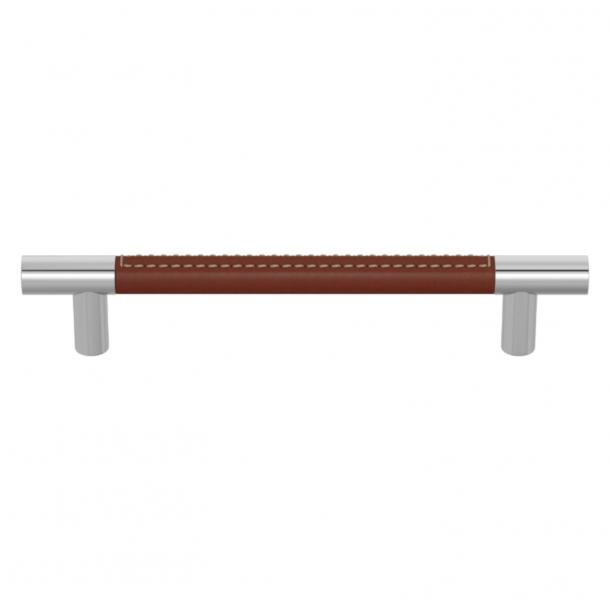 Turnstyle Designs Møbelgreb - Kastanjefarvet læder / Blank krom - Model R1910